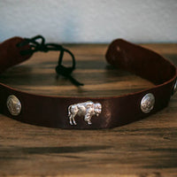 front view of big buffalo hatband