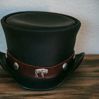 big buffalo hatband on coachman top hat
