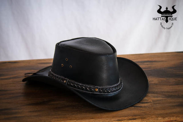 black braided cowboy hat side view