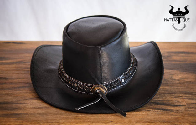 black braided cowboy hat back view