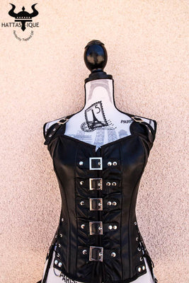 soft leather biker chick corset