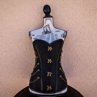 golden witch black steampunk corset