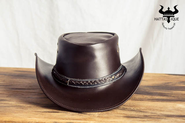 brown braided cowboy hat