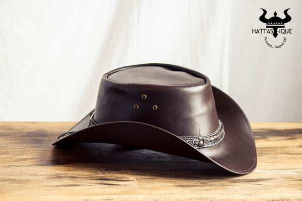 brown braided cowboy hat side view