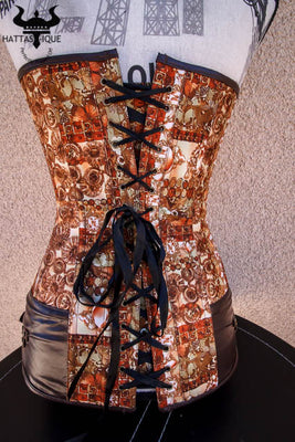 hidden butterfly steampunk corset back