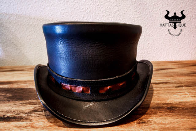 rider top hat with duel leather hatband