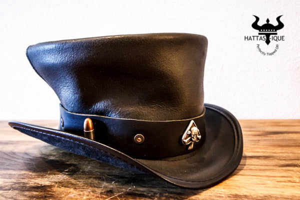 coachman top hat with ace and bullets hatband