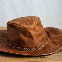 copper leather crusher outback western hat