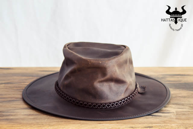 brown crusher outback leather hat