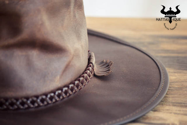 brown leather outback western hat close up
