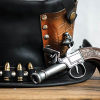 Derringer Pistol Close View Leather Top Hat