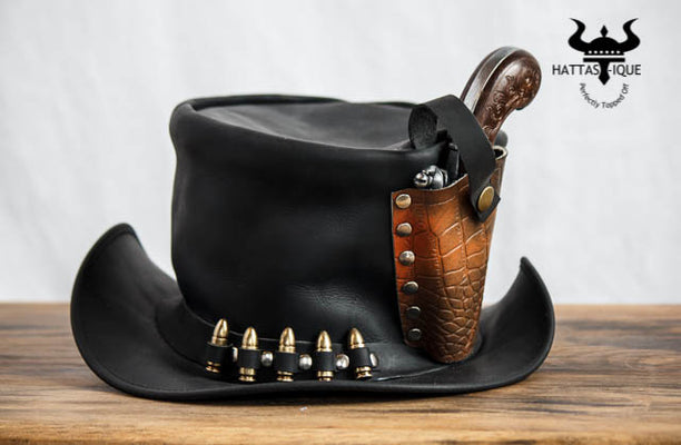 Derringer Pistol Leather Top Hat