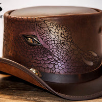 Draco Leather Top Hat Dragon