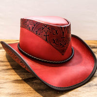 falcon leather western hat wine red