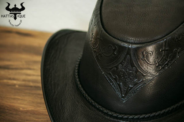 black falcon western hat close up