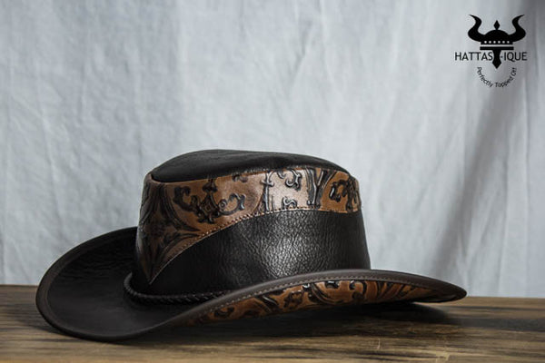 falcon leather western hat side view