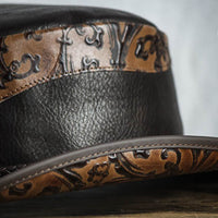 falcon leather western hat close up