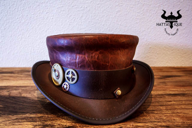 Brown Marlow Top Hat with Gear Hatband