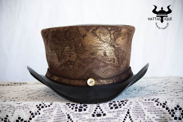 Hatlas Steampunk Leather Top Hat