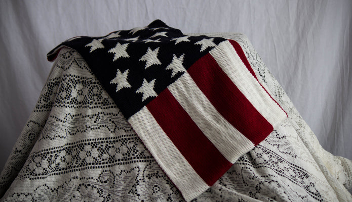American Flag Beanie and Scarf