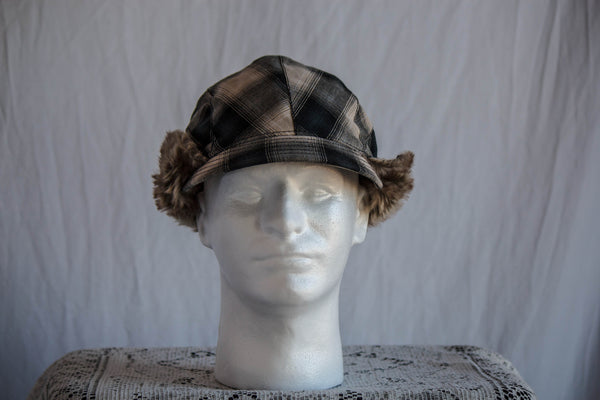 Plaid Winter Cap with Fur
