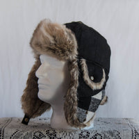 Black Bomber Hat with Fur