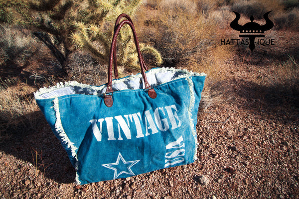 Mona B Canvas Vintage Large Beach Bag Denim
