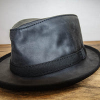 Black Leather Fedora Side View
