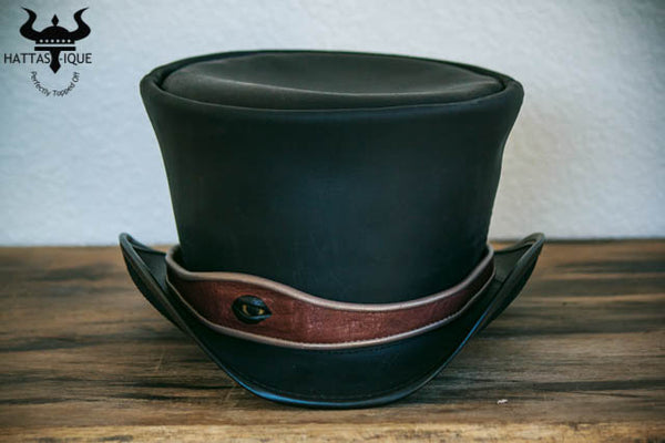 Steampunk hatter kraken eyeball hatband on coachman top hat