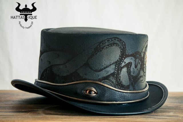 Steampunk Kraken Black Leather Top Hat