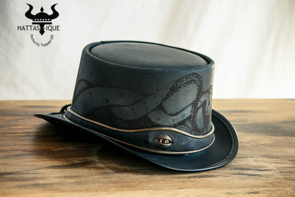 Kraken Black Leather Top Hat