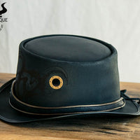 Steampunk Kraken Black Leather Top Hat Porthole View