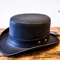 Leather Stoker Top Hat