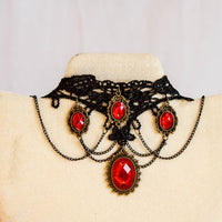 Gorgeous Black Lace Chokers with Fancy Gems