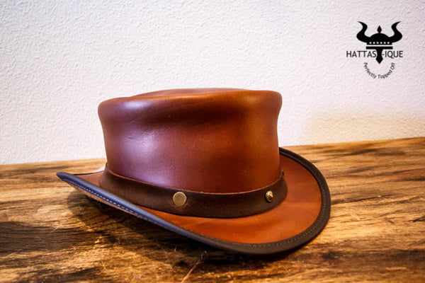 copper marlow top hat with rivet hatband