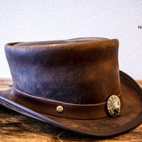marlow top hat with native american skull hatband