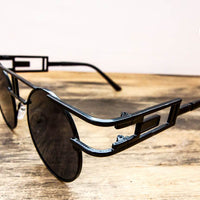 black metal frame steampunk sunglasses