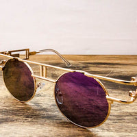 gold metal frame steampunk sunglasses