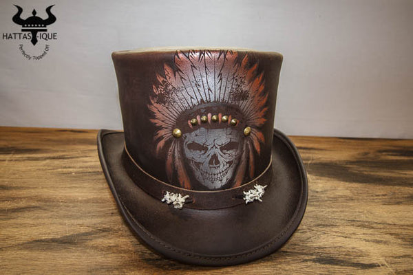 brown ritual top hat front view