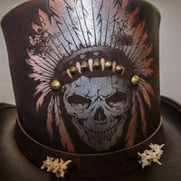 brown ritual top hat front view close up skull with headdress