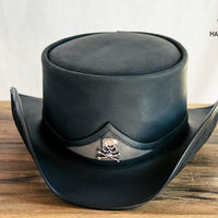 Pale Rider Black Leather Top Hat Front View