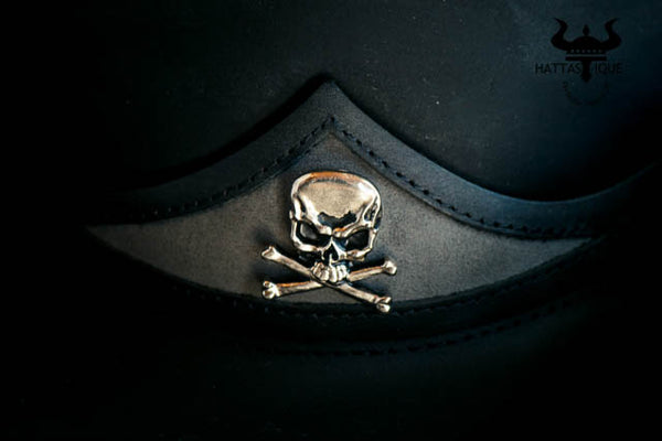 Pale Rider Black Leather Top Hat Skull and Crossbones View