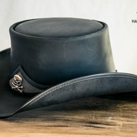 Pale Rider Black Leather Top Hat Side View