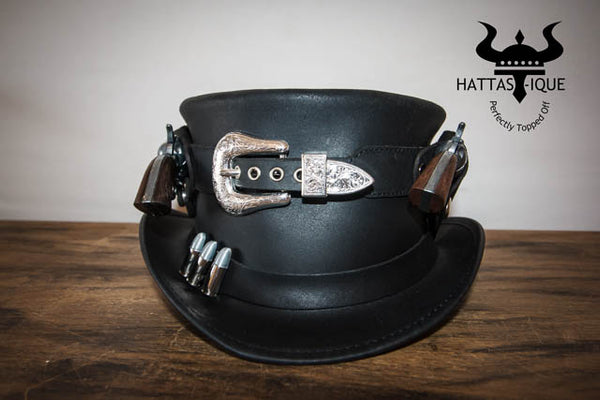 Peacekeeper Leather Top Hat Guns Holstered View