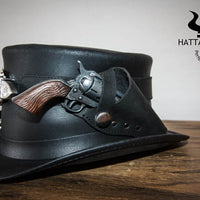 Peacekeeper Leather Top Hat Guns Holstered Side View