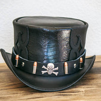 pirate skull and bullets hatband on caliber top hat