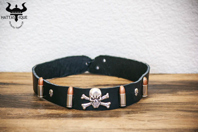 pirate skull and bullets hatband front view