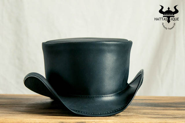 Marlow Black Leather Top Hat Front View