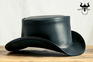 Marlow Black Leather Top Hat Side View