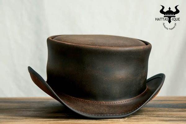 Marlow Brown Leather Top Hat Front View